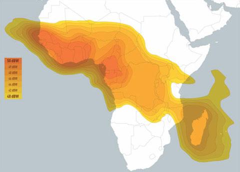 Couverture de l'Afrique subsaharienne par le satellite EUTELSAT 16A